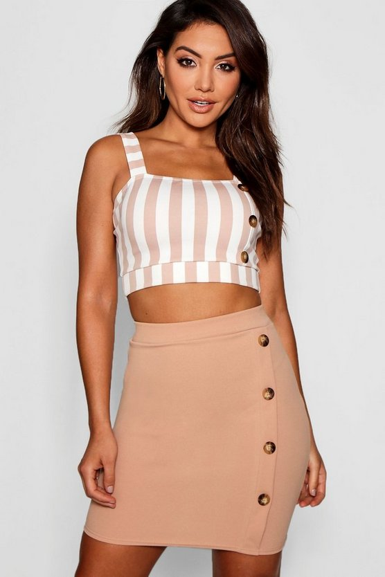 Button Detail Bodycon Mini Skirt