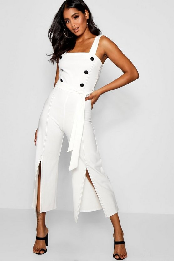 Contrast Stitch Button Cullotte Jumpsuit