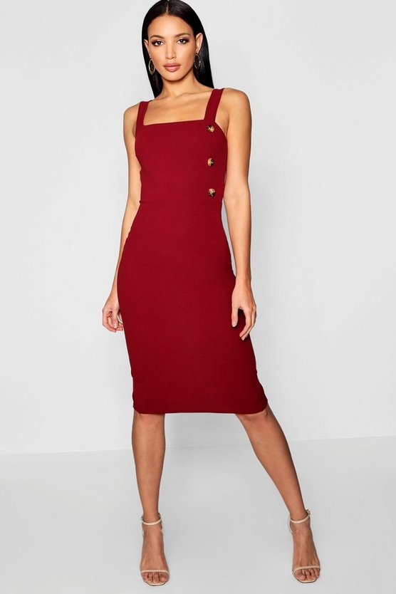 Womens Burgundy Button Square Neck Midi Dress