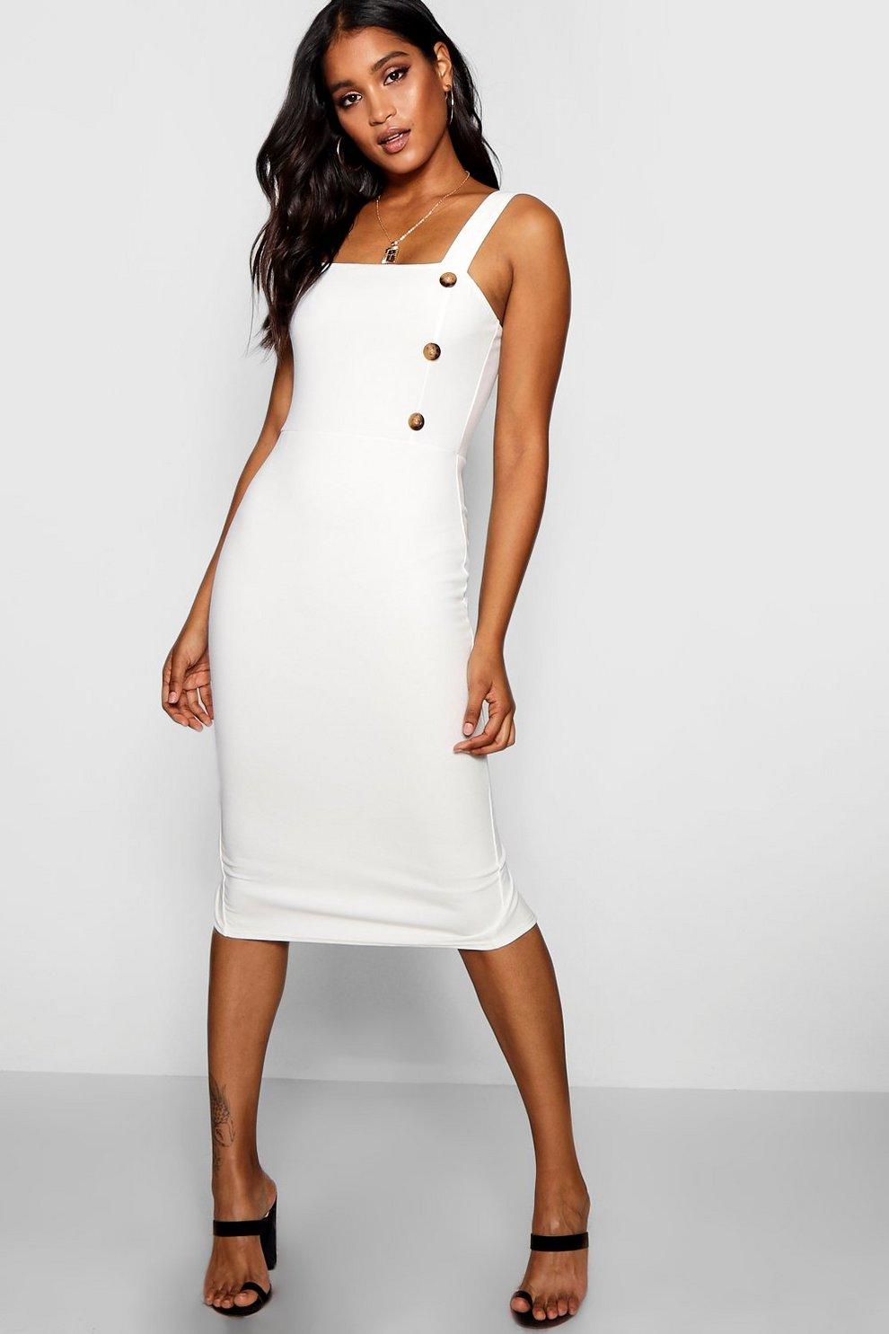 0630626598b Button Square Neck Midi Dress