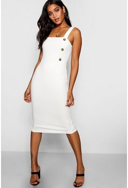 Womens Ivory Button Square Neck Midi Dress