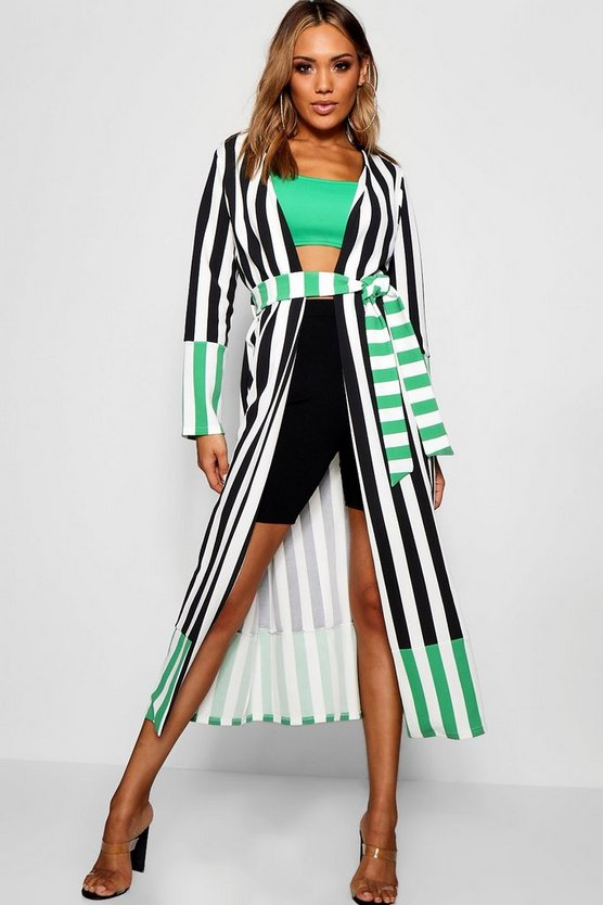 Womens Black Contrast Stripe Belted Duster