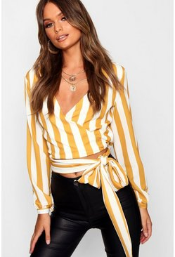 Womens Mustard Keisha Stripe Satin Tie Top