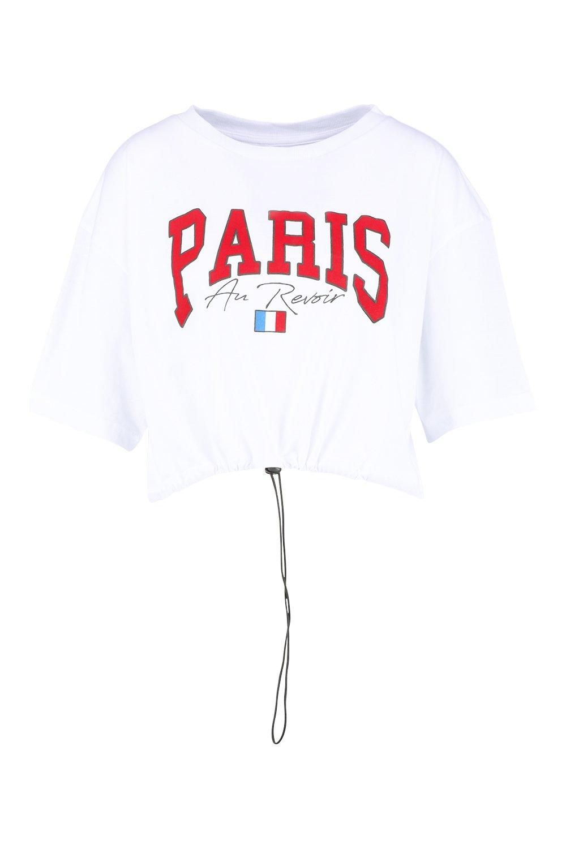 white Slogan Crop Embroidered Paris Embroidered white Embroidered Paris Crop Slogan Paris Slogan AI7Hna