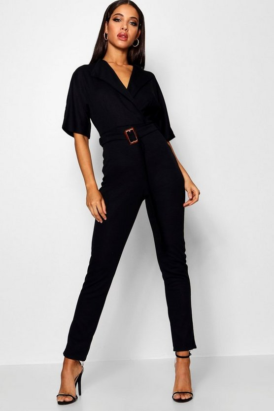 Womens Black Buckle Lapel Wrap Jumpsuit