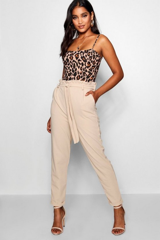 Paper Bag Waist Tapered Leg Trouser