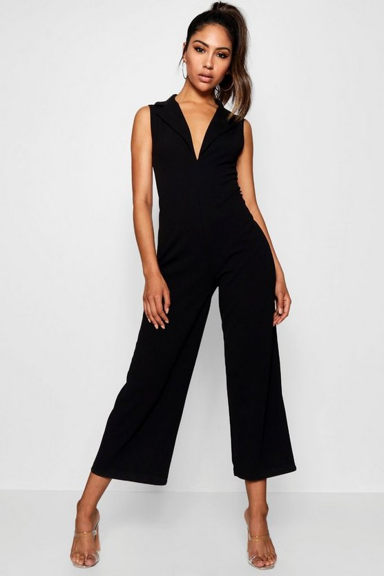Womens Black Tux V Detail Wide Leg Jumpsuit
