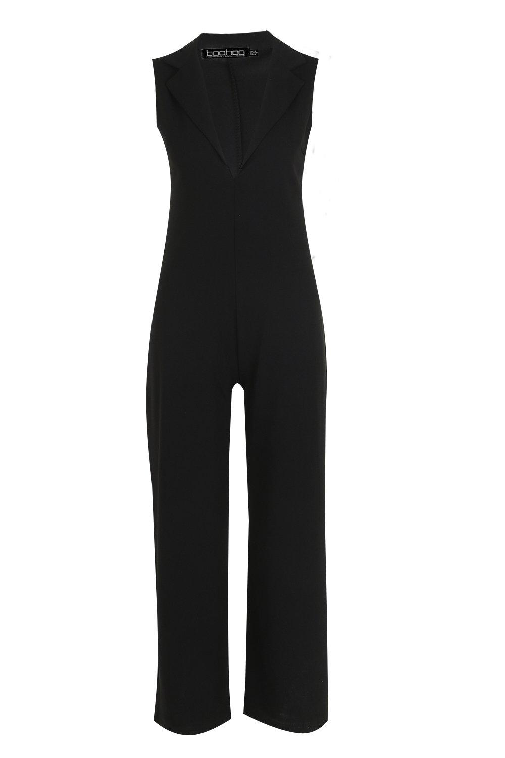 Detail Wide Jumpsuit V Tuk black Leg S78qwTx0