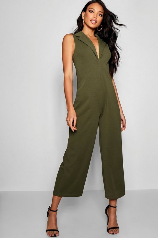 Tux V Detail Wide Leg Jumpsuit