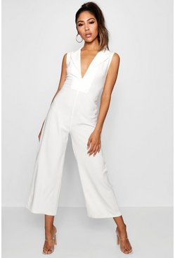 Womens White Tux V Detail Wide Leg Jumpsuit