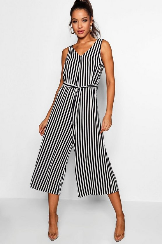 V-Neck Wide Leg Culotte Jumpsuit