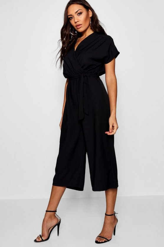 Womens Wrap Tie Detail Culotte Jumpsuit