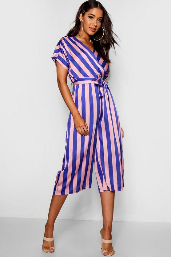 Womens Cobalt Wrap Tie Detail Wide Stripe Culotte Jumpsuit