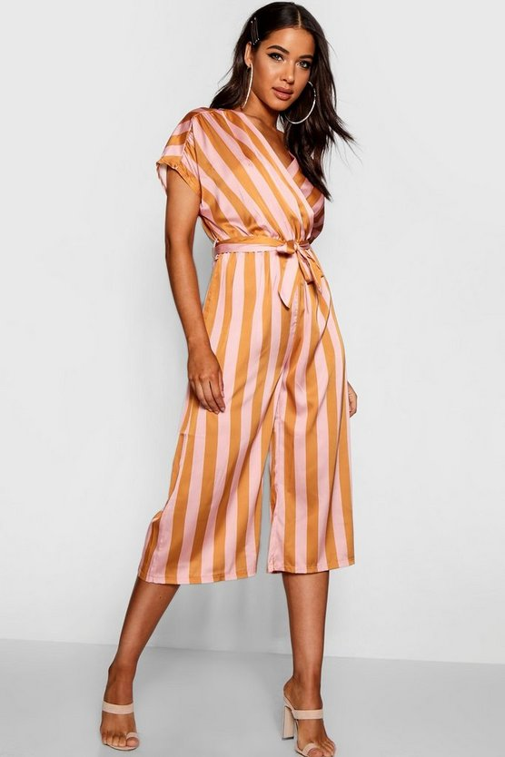 Wrap Tie Detail Wide Stripe Culotte Jumpsuit