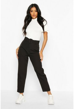Womens Black Wide Buckle Belt Straight Tapered Trouser