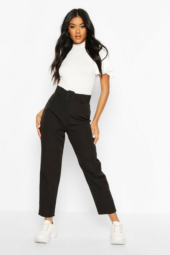 Wide Buckle Belt Straight Tapered Pants