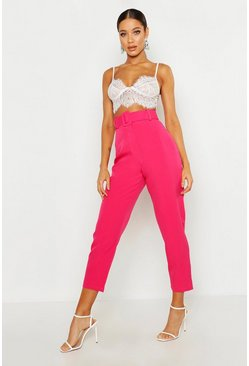 Hot pink Wide Buckle Belt Straight Tapered Trouser