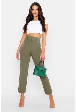 Khaki Wide Buckle Belt Straight Tapered Trouser