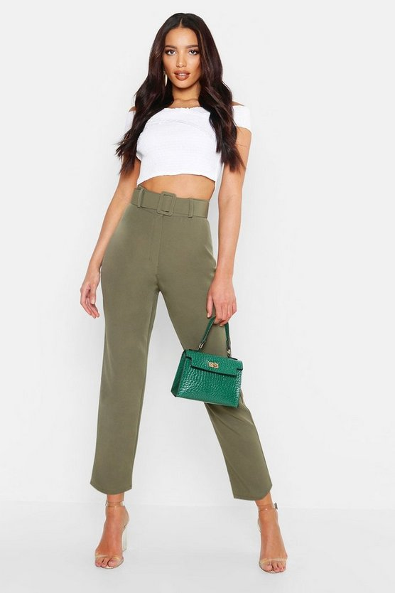 Wide Buckle Belt Straight Tapered Trouser, Khaki, Donna