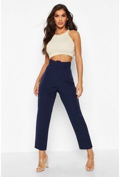 Womens Navy Wide Buckle Belt Straight Tapered Trouser
