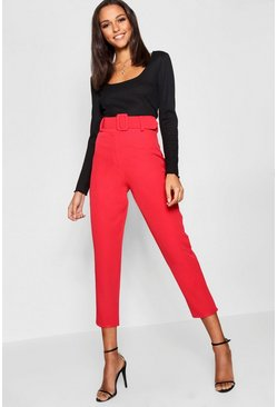 Red Wide Buckle Belt Straight Tapered Pants