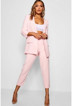 Womens Soft pink Wide Buckle Belt Straight Tapered Trouser