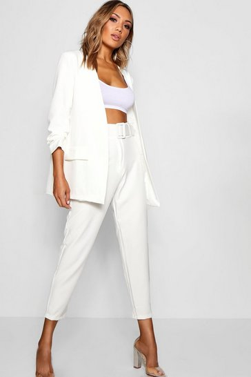 White Wide Buckle Belt Straight Tapered Trouser