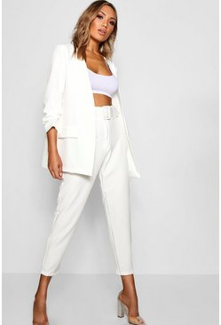 Womens White Wide Buckle Belt Straight Tapered Trouser