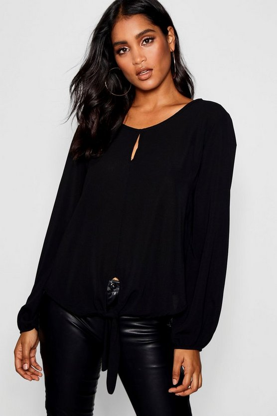 Womens Black Tie Front Split Detail Balloon Blouse
