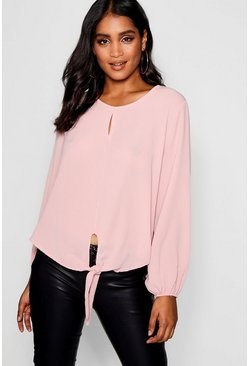 Womens Soft pink Tie Front Split Detail Balloon Blouse