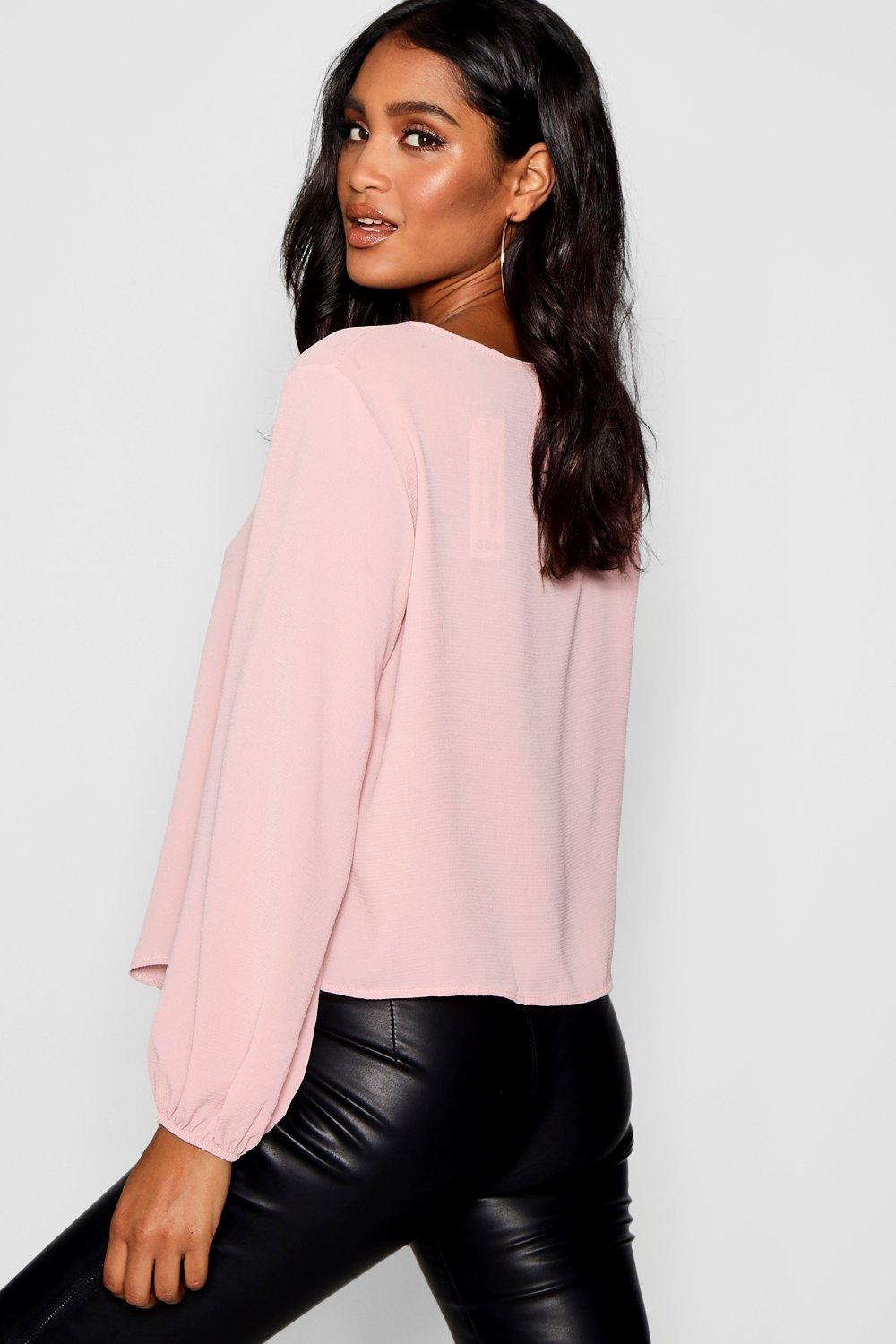 Tie pink soft Milly Front Detail Blouse Balloon Split SRTqZFw