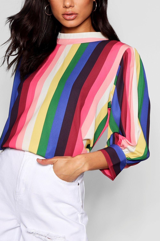 Stripe Rainbow pink Balloon Sleeve Blouse RBZrwfBxqd