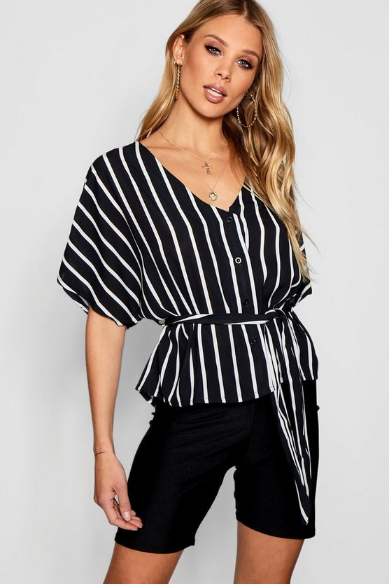 Womens Black Stripe Button Through Tie Waist Blouse
