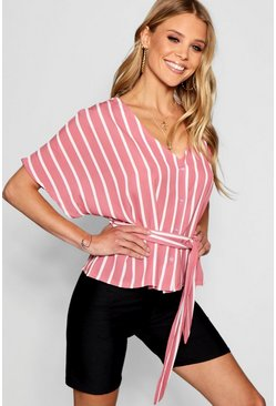 Womens Blush Stripe Button Through Tie Waist Blouse