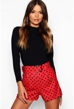 Womens Red Polka Dot Belted Short