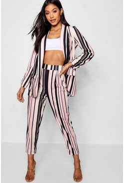 Womens Pink Stripe Tapered Leg Trouser