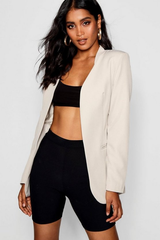 Collarless Shaped Blazer