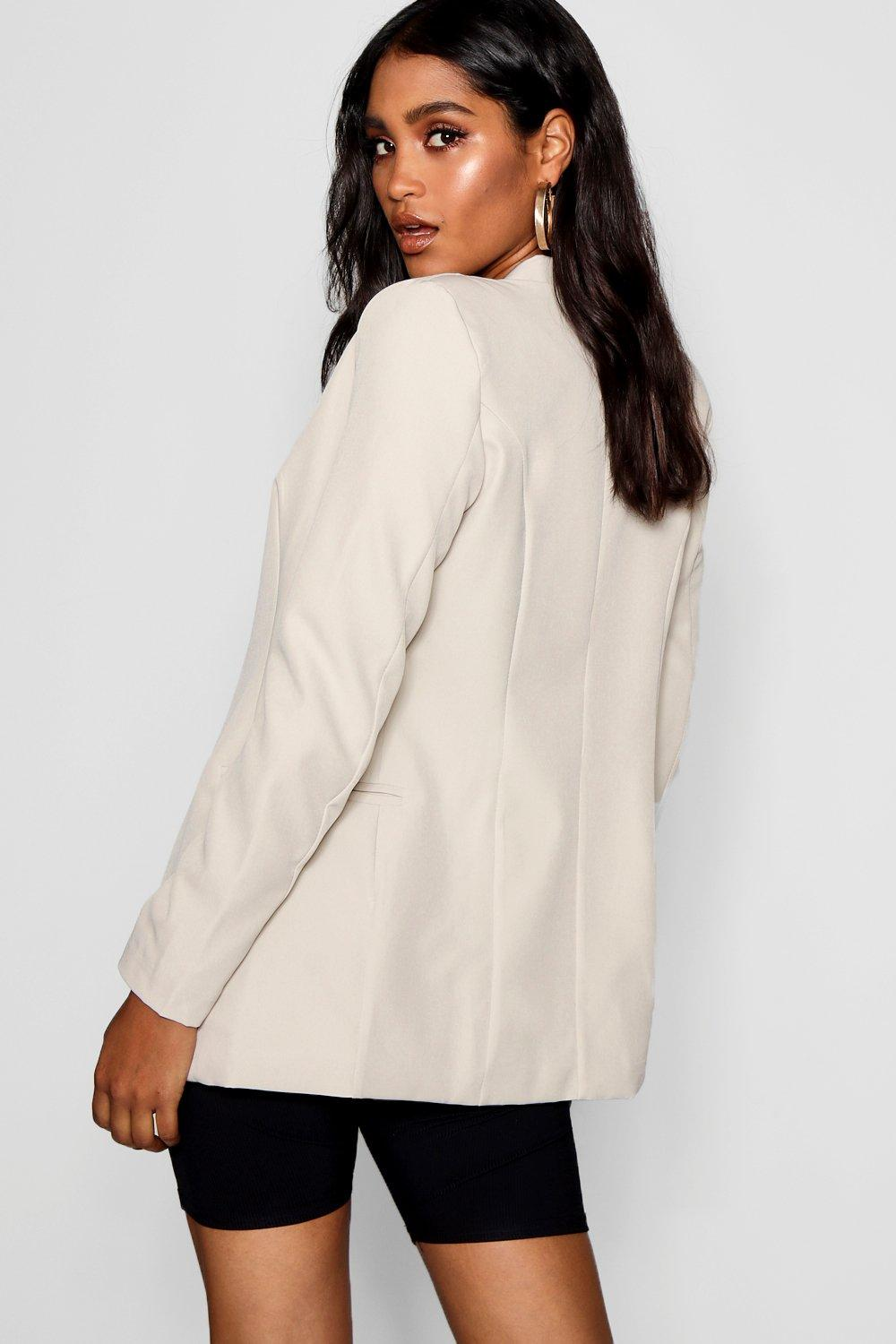 Shaped Collarless Blazer Collarless Blazer Shaped white 1TTqw5x