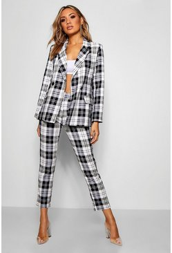 Womens Black Check Woven Tapered Pants