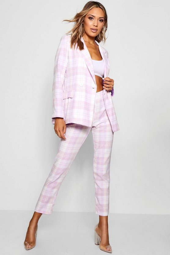 Longerline Oversized Woven Check Blazer