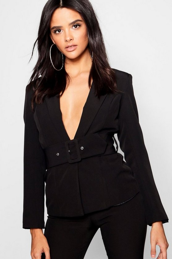 Womens Black Belted Eyelet Jacket