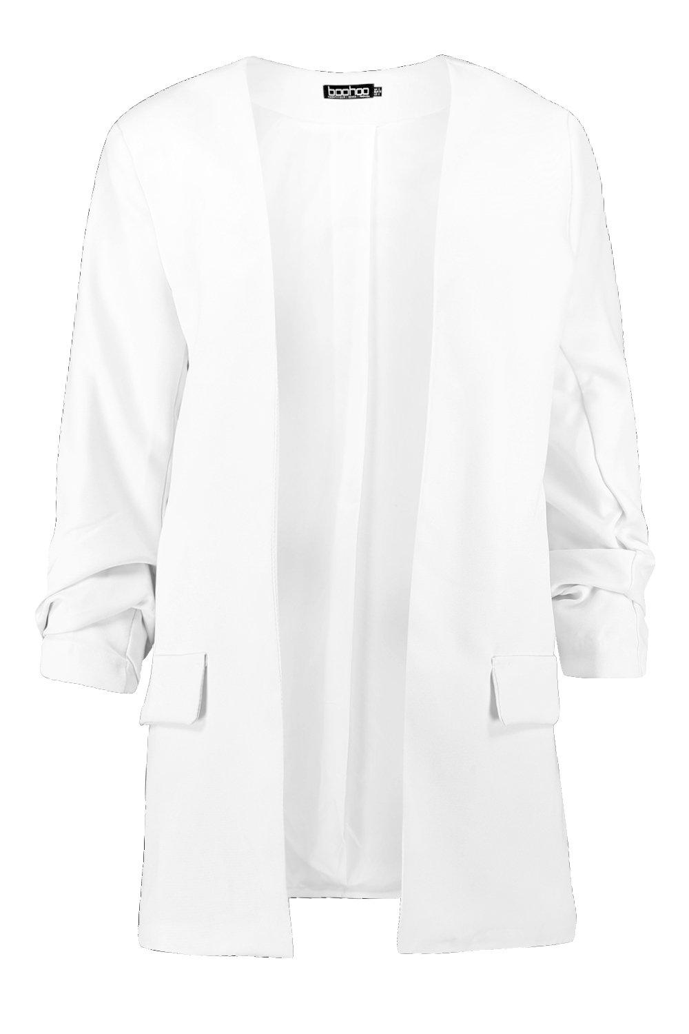 Blazer Collarless white Rouche Rouche Sleeve Sleeve Collarless Blazer white qU0Pw