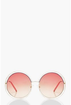 Womens Red Ombre Coloured Lens Round Sunglasses