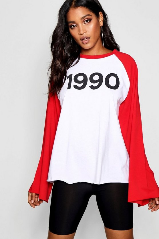 Red 1990 Oversized Slogan T-Shirt