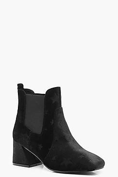 Star Embossed Velvet Shoe Boots