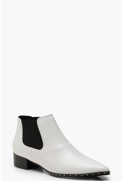 Womens White Stud Detail Pointed Chelsea Boots