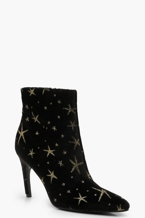 Womens Black Velvet Glitter Star Pointed Toe Shoe Boots