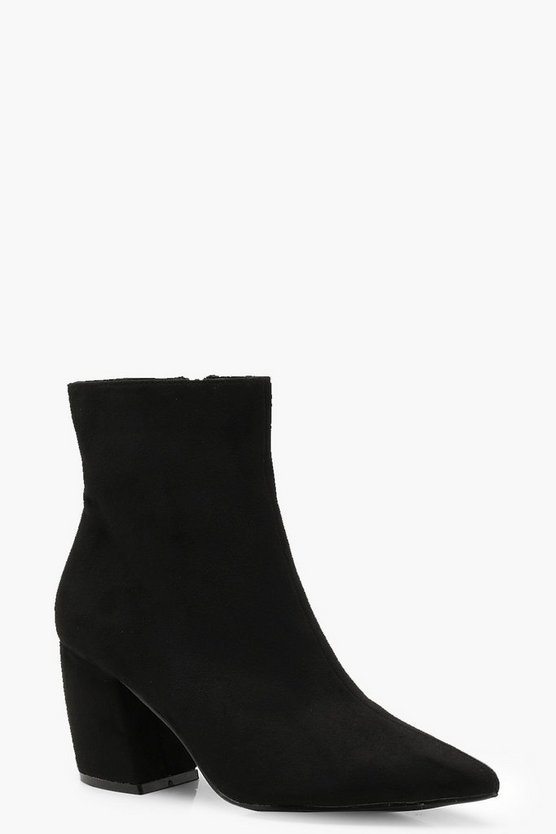 Curved Heel Pointed Ankle Shoe Boots