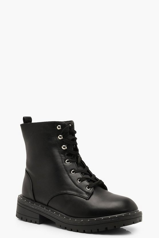 Black Wide Fit Stud Detail Chunky Hiker Boots