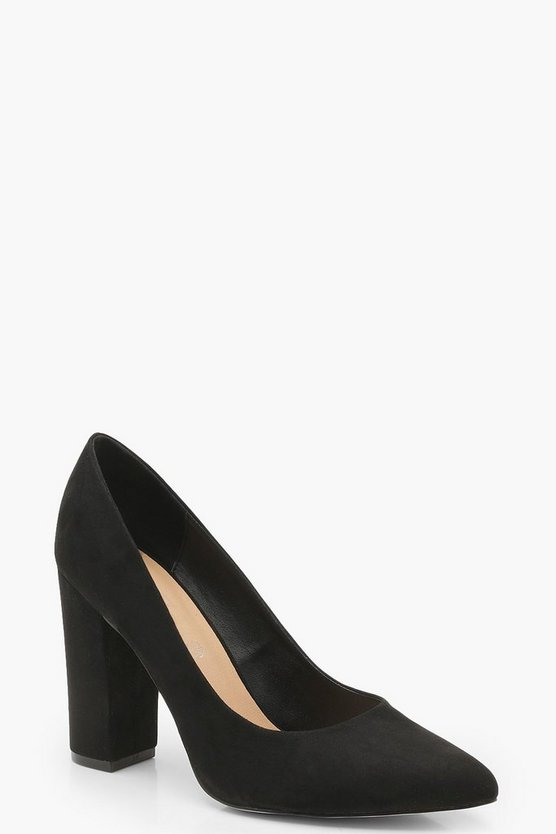 Black Wide Fit Leopard Block Heel Pointed Court Shoes